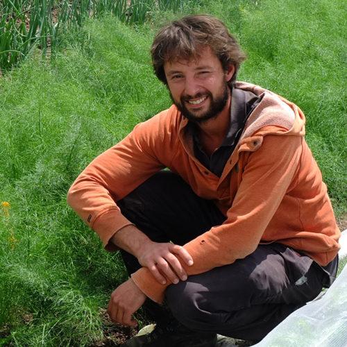 Producteur assis dans l'herbe